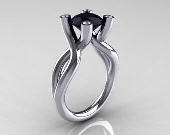 Modern Bridal 18K White Gold 1.5 Carat Black Diamond Solitaire Ring AR110-18KWGDBD