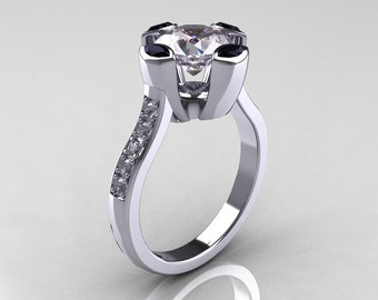 Modern Classic 10K White Gold 1.5 Carat CZ Marquise Black Diamond Solitaire Ring AR121-10WGDCZBLL