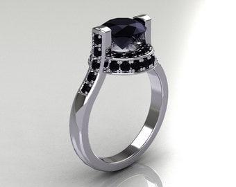 Italian Bridal 10K White Gold 1.5 Carat Black Diamond Wedding Ring AR119-10WGBLL