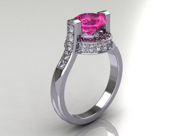 Italian Bridal 18K White Gold 1.5 Carat Pink Sapphire Diamond Wedding Ring AR119-18WGDPS