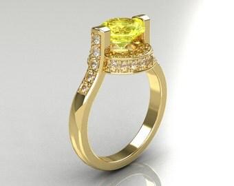 Italian Bridal 14K Yellow Gold 1.5 Carat Yellow Sapphire Diamond Wedding Ring AR119-14YGDYS