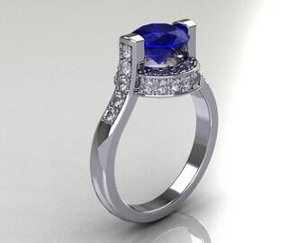 Italian Bridal 10K White Gold 1.5 Carat Blue Sapphire Diamond Wedding Ring AR119-10WGDBS
