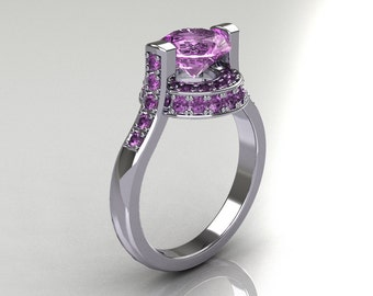 Italian Bridal 10K White Gold 1.5 Carat Lilac Amethyst Wedding Ring AR119-10WGLAA