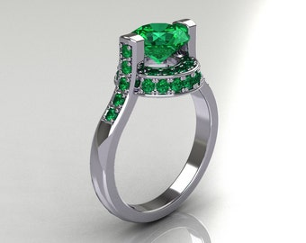 Italian Bridal 10K White Gold 1.5 Carat Emerald Wedding Ring AR119-10WGEMM