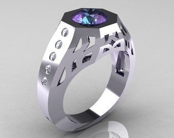 Gentlemens Modern Edwardian 10K White Gold 1.5 Carat Alexandrite Diamond Engagement Ring MR155-10KWGDAL