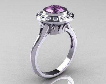 Classic 14K White Gold 1.0 Carat Lilac Amethyst Diamond Bridal Engagement Ring R400-14KWGDLA