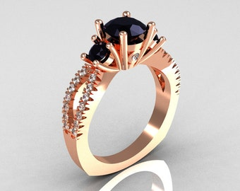Modern French Bridal 14K Rose Gold Three Stone 1.0 Carat Black Diamond Accent White Diamond Engagement Ring R140-14RGDBD