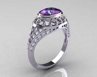 Modern Victorian 14K White Gold 1.16 Carat Oval Alexandrite 0.24 CTW Diamond Bridal Ring R158-14KWGDAL
