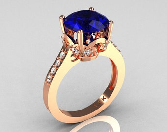 Classic 14K Rose Gold 3.0 Carat Blue Sapphire Diamond Solitaire Wedding Ring R301-14KRGDBS