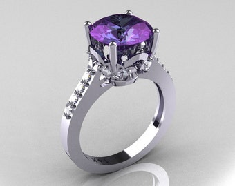 Classic 18K White Gold 3.0 Carat Alexandrite Diamond Solitaire Wedding Ring R301-18KWGDAL