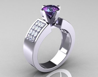 Modern Bridal 14K White Gold Princess Invisible White Sapphire 1.0 CT Round Alexandrite Wedding Ring R168-14KWGWSAL