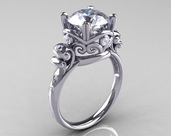 Modern Vintage 14K White Gold 2.5 Carat White Sapphire Diamond Wedding, Engagement Ring R167-14KWGDWS