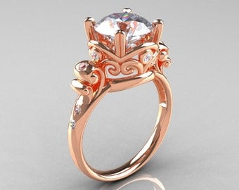 Modern Vintage 14K Rose Gold 2.5 Carat White Sapphire Diamond Wedding, Engagement Ring R167-14KRGDWS