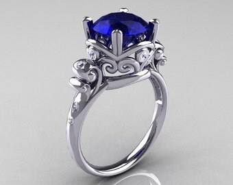 Modern Vintage 14K White Gold 2.5 Carat Blue Sapphire Diamond Wedding, Engagement Ring R167-14KWGDBS