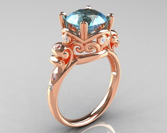 Modern Vintage 10K Rose Gold 2.5 Carat Aquamarine Diamond Wedding, Engagement Ring R167-10KRGDAQ