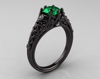 Designer Exclusive Classic 18K Black Gold 1.0 Carat Emerald Diamond Lace Ring R175-18KBGDEM