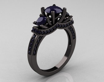 French 14K Black Gold Three Stone Dark Blue Sapphire Wedding Ring, Engagement Ring R182-14KBGDDBS
