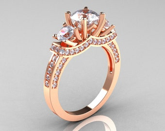 French 14K Rose Gold Three Stone CZ Diamond Wedding Ring, Engagement Ring R182-14KRGDCZ