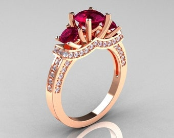 French 10K Rose Gold Three Stone Garnet Diamond Wedding Ring, Engagement Ring R182-10KRGDG
