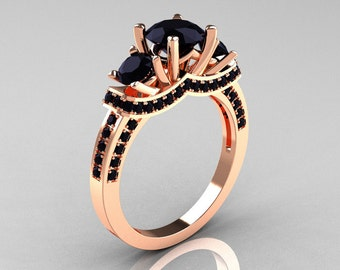 French 18K Rose Gold Three Stone Black Diamond Wedding Ring, Engagement Ring R182-18KRGBDD