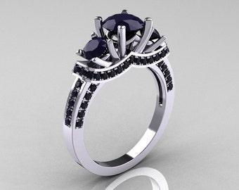 French Platinum Three Stone Dark Blue Sapphire Wedding Ring, Engagement Ring R182-PLATDBS