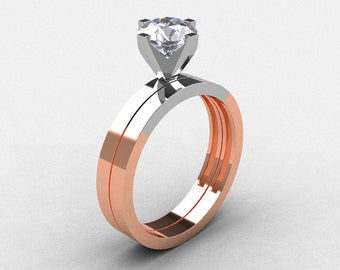 Modern 14K Two Tone Gold 1.0 CT White Sapphire Solitaire Engagement Ring, Wedding Band Bridal Set R186S-14KTT5WRGWS
