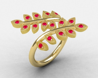 Natures Nouveau 14K Yellow Gold Rubies Leaf and Vine Wedding Ring NN112S-14KYGR