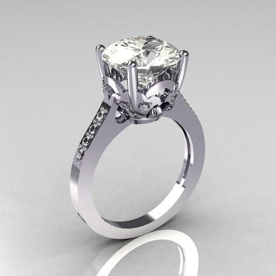 classic 14k white gold 3 5 carat white sapphire cz