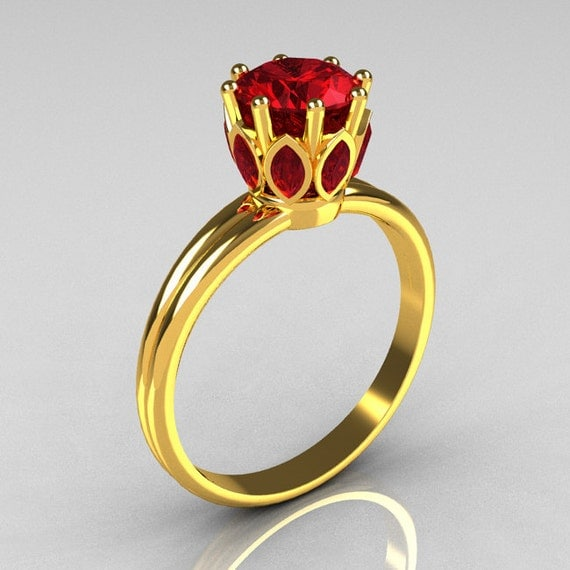 Modern Antique 22K Yellow Gold Marquise and 1.0 CT Round Red Rubies Solitaire Ring R90-22KYGRR