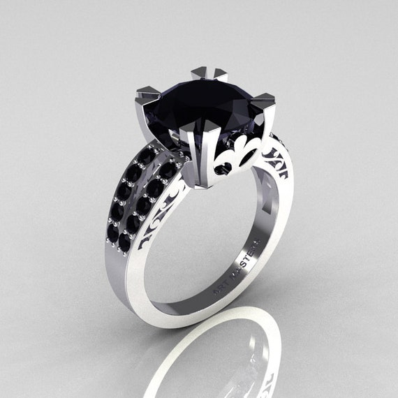 Modern Vintage 14K White Gold 3.0 Carat Black Diamond Solitaire Ring R102-14KWGBDD