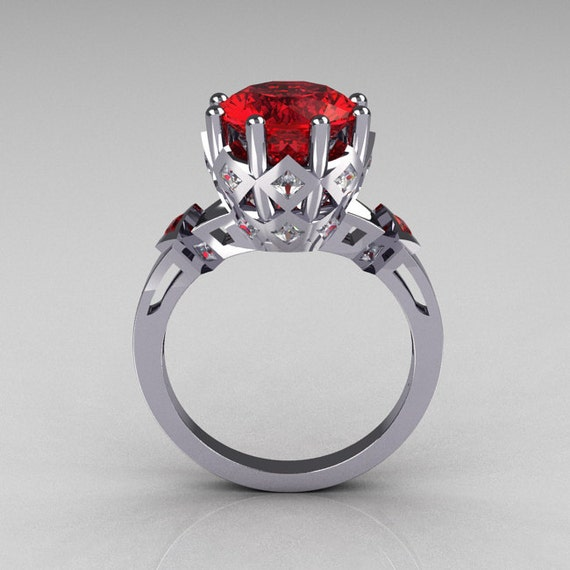 Items Similar To Modern Vintage 10K White Gold 30 Carat Red Ruby Princess Diamond Solitaire