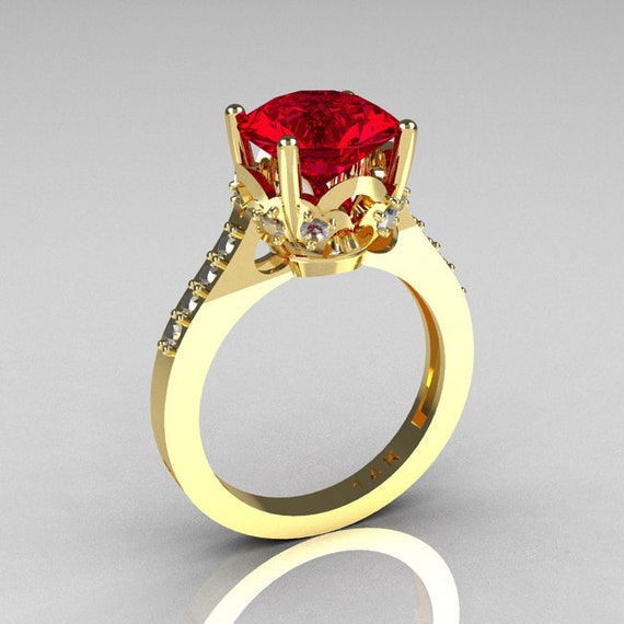 French Bridal 14K Yellow Gold 3.0 Carat Red Ruby Diamond Solitaire Wedding Ring R301-14YGDR