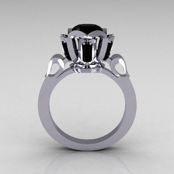 Items similar to Modern Edwardian 10K White Gold 1 0 Carat Black Diamond Bagu