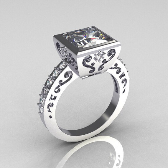 Items similar to Classic Bridal 10K White Gold 2 5 Carat Square Princess Whit