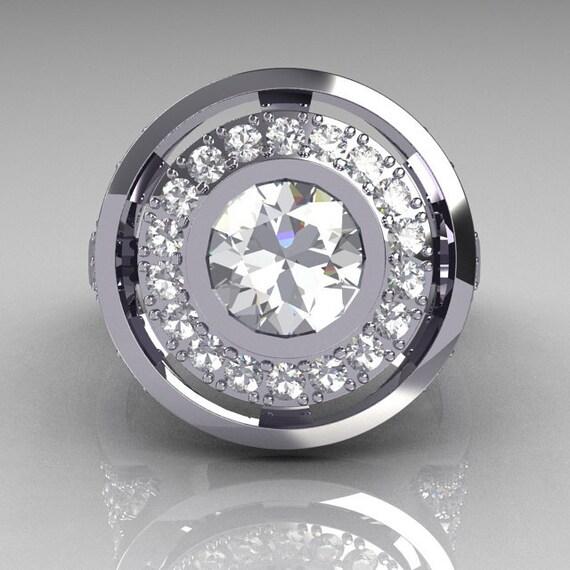 Modern French 14K White 1.0 Carat Round White Sapphire Diamond Engagement Ring R131-14WGDWS
