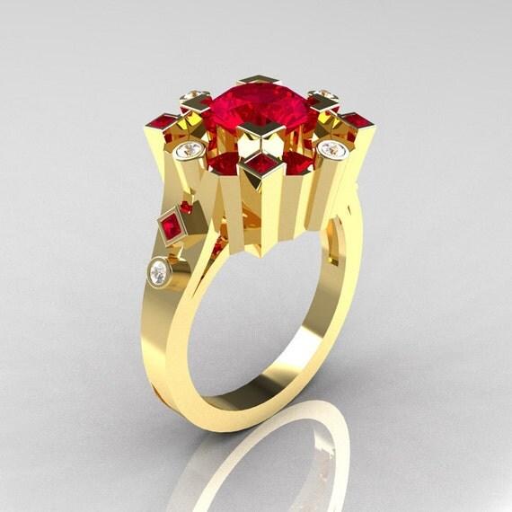 Classic 10K Yellow Gold 1 5 Carat Ruby Diamond Wedding Ring
