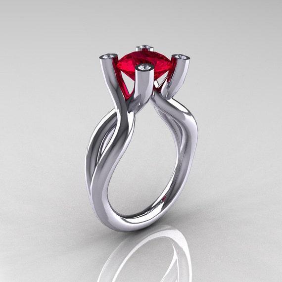 10 000 Up Diamond: Items Similar To Modern 10K White Gold 1.5 Carat Ruby