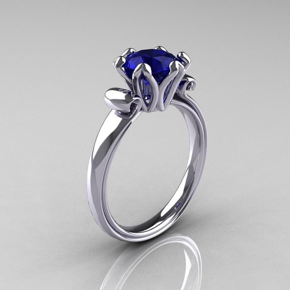Modern Antique 14K White Gold 1.5 Carat Blue Sapphire Solitaire Engagement Ring AR127-14WGBS