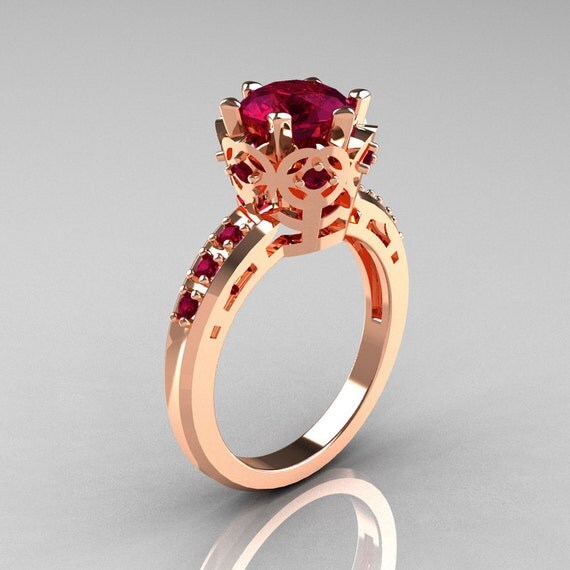 Items similar to Modern Classic 14K Pink Gold 1 5 Carat Rhodolite Garnet Crow