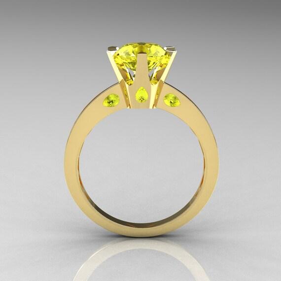 Items similar to French 10K Yellow Gold 1 5 Carat Yellow Sapphire Designer So