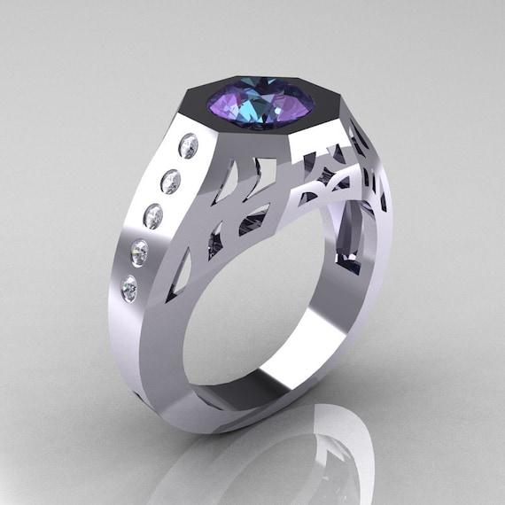 Gentlemens Modern Edwardian 10K White Gold 1.5 Carat Alexandrite Diamond Engagement Ring MR155-10KWGDAL
