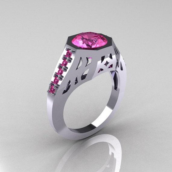 Items similar to Modern Edwardian 14K White Gold 1 5 Carat Pink Sapphire Enga