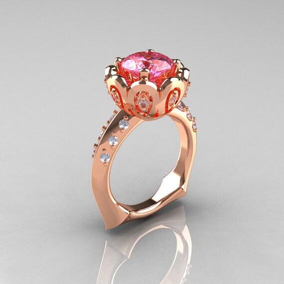 10 000 Up Diamond: Classic 10K Rose Gold 3.0 Carat Pink Topaz Diamond Greek