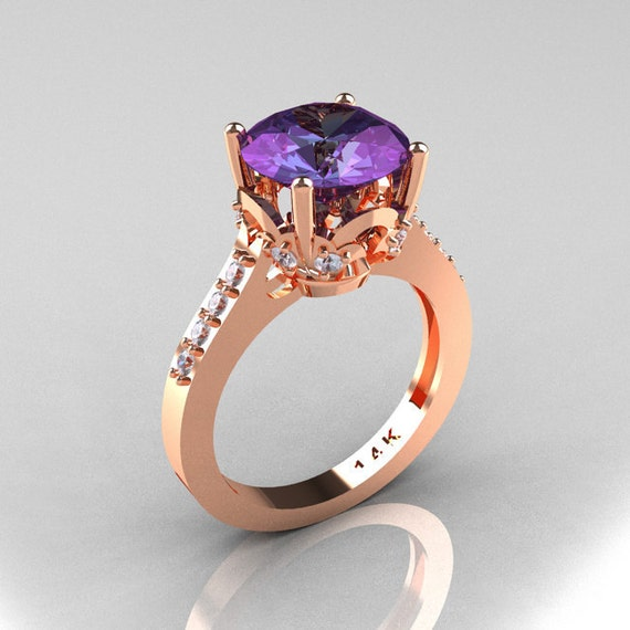 Classic 14K Rose Gold 3.0 Carat Alexandrite Diamond Solitaire Wedding Ring R301-14KRGDAL