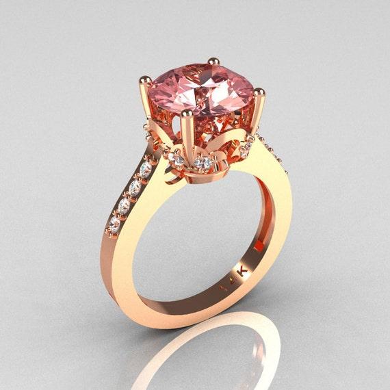 Classic 14K Rose Gold 30 Carat Morganite Diamond Solitaire