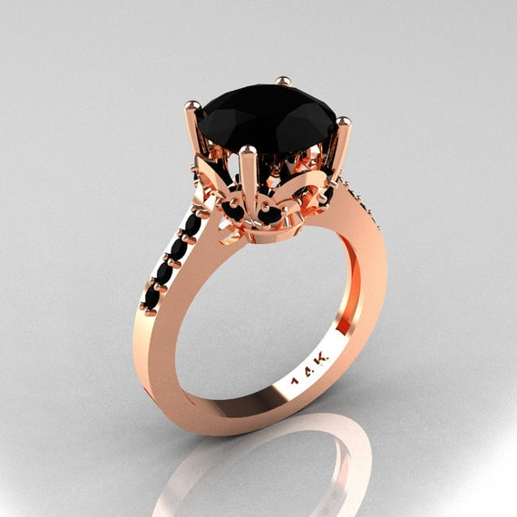 Classic 14K Rose Gold 3.0 Carat Black Diamond Solitaire Wedding Ring R301-14KRGBDD