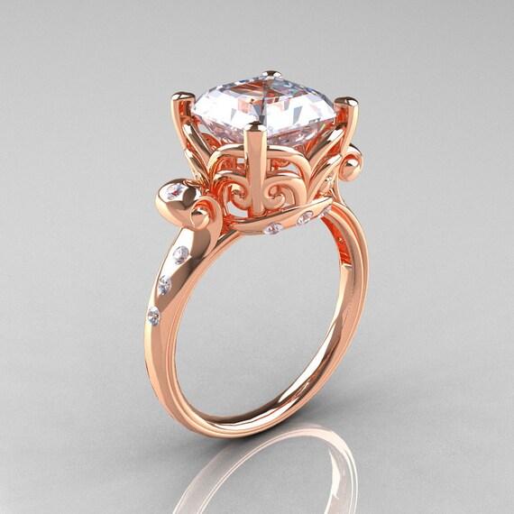 Modern Antique 14K Rose Gold 2.6 Carat Emerald Cut White Sapphire Diamond Solitaire Ring R166-14RGDWS