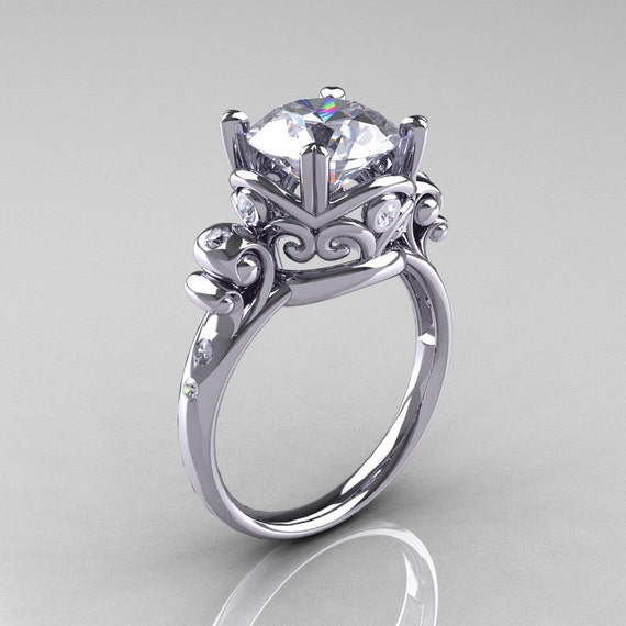 Modern Vintage 14K White Gold 2.5 Carat White Sapphire Diamond Wedding, Engagement Ring R167-14KWGDWS