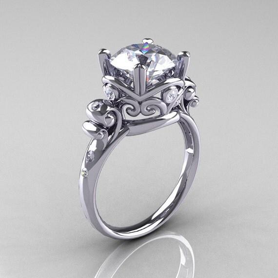 Modern Vintage 950 Platinum 2.5 Carat CZ Diamond Wedding, Engagement Ring R167-PLATDCZ