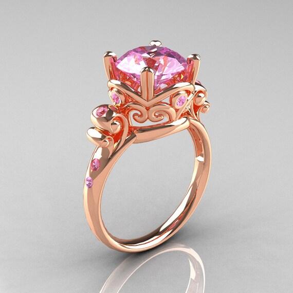 Modern Vintage 14k Rose Gold 2 5 Carat Light Pink Sapphire